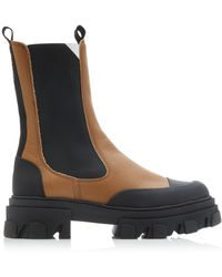 Ganni Leather Chelsea Boots - Brown
