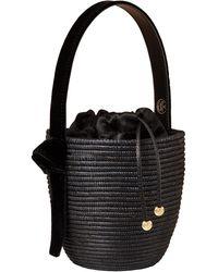 Cesta Collective Lunchpail Velvet-trimmed Sisal Bucket Bag - Black