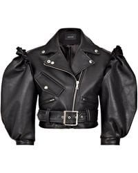 Simone Rocha Puff-sleeve Cropped Leather Biker Jacket - Black