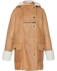 Loewe - Shearling-trimmed Leather Coat - Lyst