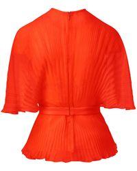 Brandon Maxwell Pleated Silk-chiffon Wrap Top - Orange