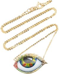 Lito 14k Yellow Gold, Ruby, Tsavorite, And Diamond Eye Necklace - Metallic