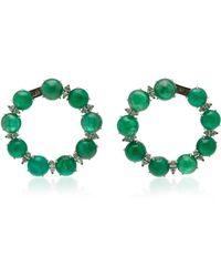 Nina Runsdorf - Cabochon Emerald And Marquise Diamond Hoop Earrings - Lyst