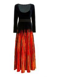 Proenza Schouler Belted Tie-dyed Velvet Maxi Dress - Red