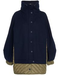 Ganni Paneled Wool-blend And Quilted Shell Jacket - Blue