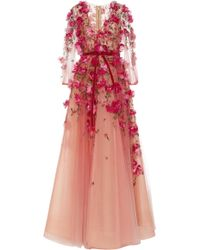 Marchesa - Bead And Floral-embroidered Tulle Gown - Lyst