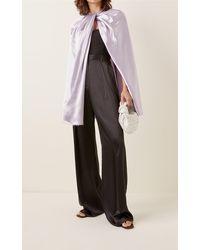 Marina Moscone Twisted Satin Cape - Purple