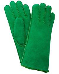 Maison Fabre Short Shearling Cuff Gloves - Green