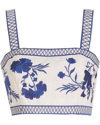 Alexis Olva Embroidered Linen Crop Top - Blue