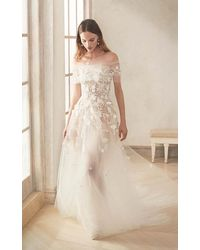 Oscar de la Renta Embroidered Off-shoulder Tulle Gown With Train - White
