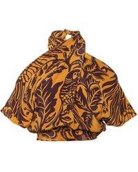 Johanna Ortiz Curcuma Soul Shift Silk Cropped Top - Multicolour