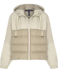 Zeynep Arcay Cropped Leather & Shell Puffer Jacket - Natural