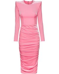 Alex Perry Lucas Ruched Velvet Midi Dress - Pink