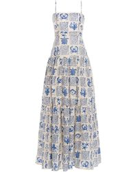 Agua by Agua Bendita Lima Tiered Printed Linen Maxi Dress - Blue