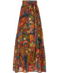 Chufy Khuyana Wrap-effect Cotton-silk Maxi Skirt - Multicolor