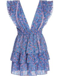 LoveShackFancy Bennett Tiered Floral-print Cotton-georgette Mini Dress - Blue