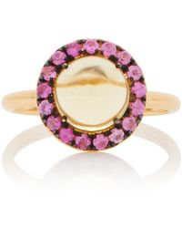 Rosa De La Cruz 18k Gold, Quartz And Sapphire Ring - Yellow