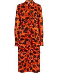 Ganni Ruched Floral Silk Satin Midi Shirt Dress - Multicolour