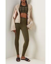 Nagnata Laya Houndstooth Wool-blend Leggings - Green