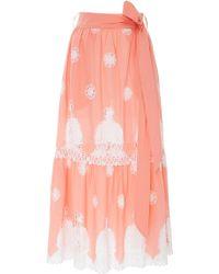 Miguelina - Georgia Lace-paneled Cotton Maxi Skirt - Lyst