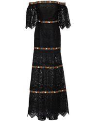 Carolina Herrera Floral-embroidered Guipure-lace Bardot Dress - Black