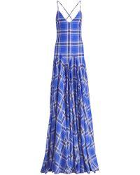 Ralph Lauren Nadeesha Check Evening Dress - Blue