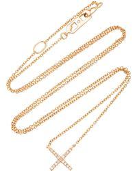 Eva Fehren Tiny X Rose Gold And Diamond Pendant Necklace - Metallic
