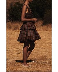 Brock Collection Sofia Smocked Plaid Linen-blend Strapless Top - Brown