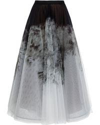 Marchesa Ombréd Printed Organza Midi Skirt - Black