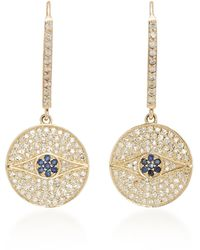 Sheryl Lowe 14k Gold, Diamond And Sapphire Earrings - Metallic