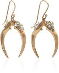 Annette Ferdinandsen 14k Gold, Sapphire And Pearl Earrings - Metallic