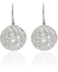 Sidney Garber - Honeycomb 18k White Gold And Diamond Drop Earrings - Lyst