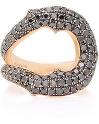 Sylva & Cie | Horseshoe 14k Rose Gold Black Diamond Ring | Lyst