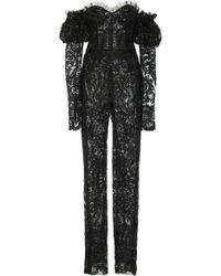 Naeem Khan Sequin-embellished Off-the-shoulder Chiffon Straight-leg Jumpsuit - Black