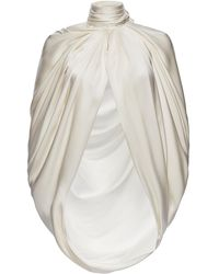 Magda Butrym Medford Scarf-detailed Draped Silk-satin Cape - White