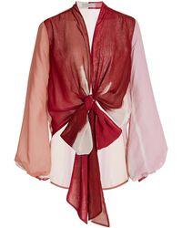 Silvia Tcherassi Honey Printed Chiffon Wrap-front Top - Red