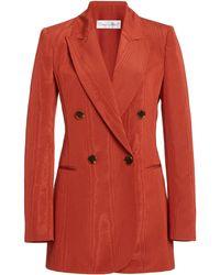 Oscar de la Renta Moiré Cotton-blend Double-breasted Blazer - Red