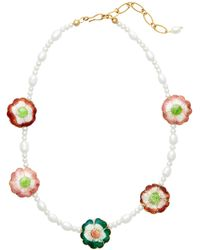 Brinker & Eliza Pearl-embellished Garden Party Necklace - Multicolour