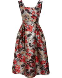 Anna Sui - Scattered Flowers Metallic Brocade Fit & Flare Dress - Lyst