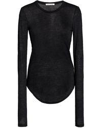 Frances de Lourdes Romy Long Sleeve Slim Tee - Black