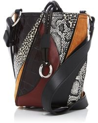 Proenza Schouler - Hex Small Patchwork Leather And Snake Drawstring Bucket Bag - Lyst