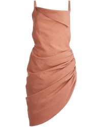 Jacquemus Saudade Asymmetric Draped Hemp-blend Mini Dress - Brown