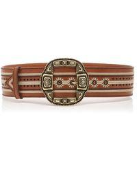 Etro Embroidered Leather Waist Belt - Brown