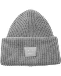 Acne Studios Pansy Face Ribbed Wool Beanie - Grey