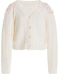 Cecilie Bahnsen Milo Convertible Cable-knit Wool-blend Cardigan - White