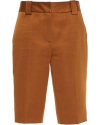 Prada Pleated Silk-satin Bermuda Shorts - Orange