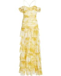 ATOIR Back To Love Tiered Ruffle Chiffon Dress - Yellow