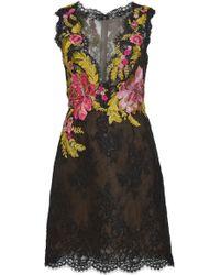 Marchesa Mini Embroidered Lace Dress - Black