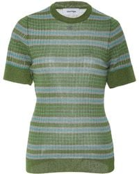 Courreges - Striped Ribbed Short Sleeve Top - Lyst