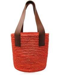 Sensi Studio Medium Leather-trimmed Straw Tote - Orange